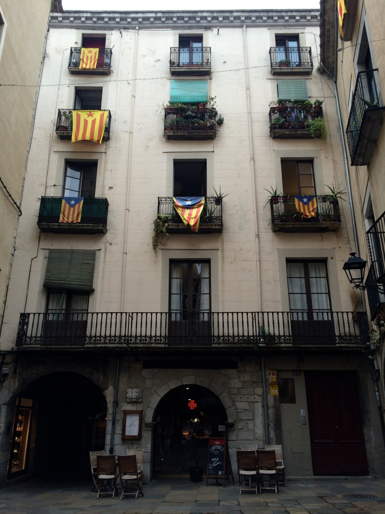 Girona building with flag of Catalonia